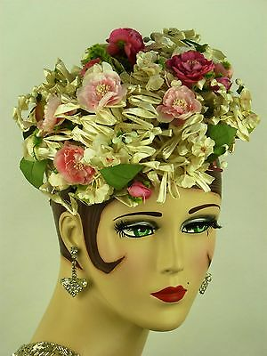 VINTAGE HAT 1950s, IRENE OF NEW YORK, BEAUTIFUL FLORAL PILLBOX IN PINKS & IVORY