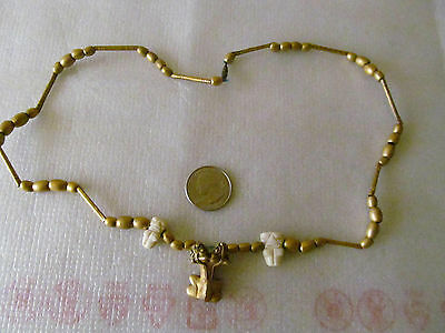 Colombia Copper Gold Tumbaga Two Head Frog White Stone Necklace