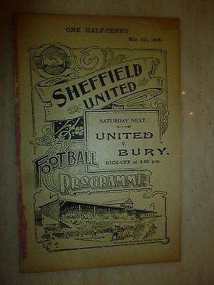1904-05 SHEFFIELD UNITED RES v SHEFFIELD CLUB - 4th March RARE
