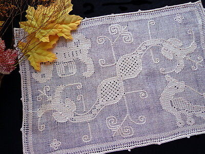 SET 6 Antique Zoomorphic Placemats Italian Pulled-Thread Embroidery Dragon &Lion
