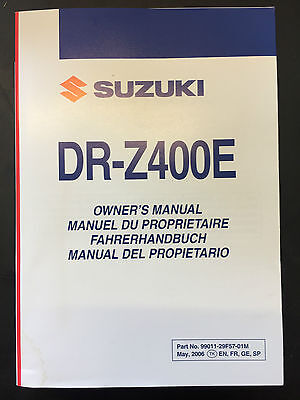 Genuine Suzuki Owners Manual Handbook DRZ 400 E DR-Z400E 2007