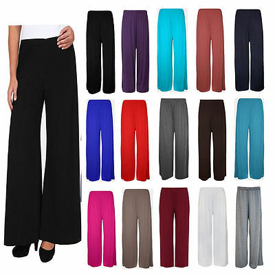 New Ladies Womens Palazzo Plain Flared Wide Leg Pants leggings Baggy Trousers UK