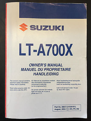 Genuine Suzuki Owners Manual Handbook LT-A700X LTA 700 X 2005
