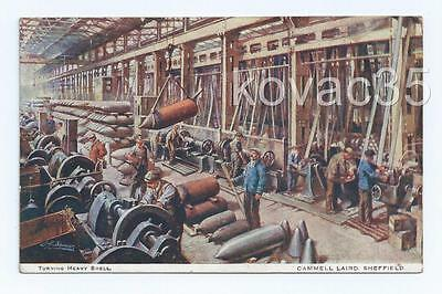 WW1, SHEFFIELD, CAMMELL LAIRD Steel Works, 1917 - Turning HEAVY SHELLS_Munitions