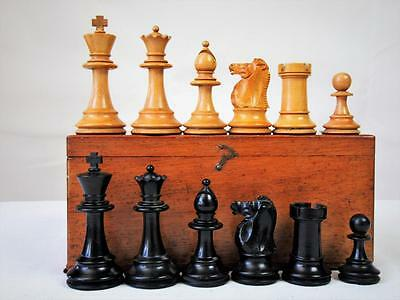ANTIQUE ENGLISH  CHESS SET NON JAQUES WEIGHTED  STAUNTON PATTERN K 86  mm +BOX