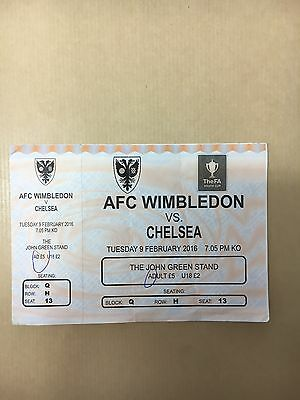 Rare AFC Wimbledon V Chelsea FA Youth Cup Ticket FAYC 2015/2016 15/16