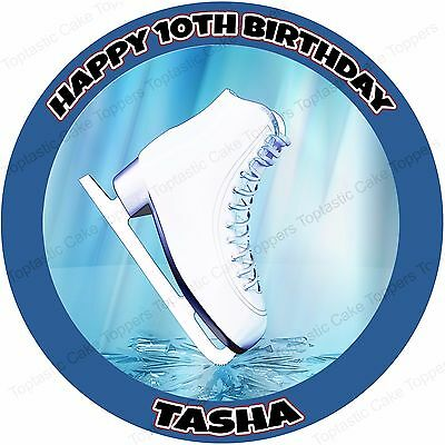 Personalised Ice Skate Skating Blue Edible Icing Birthday Cake Topper