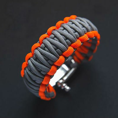 Paracord Survival Bracelet With Adjustable Metal Shacle Bear Grylls Inspired