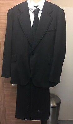 Vintage Tailored Men's HARDY AMIES Suit Jacket S 40 Trousers 34 Embroidered Trim