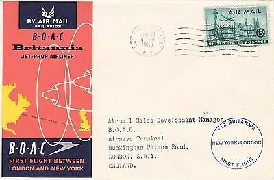 U.s.a. : Boac Britannia Jet-Prop Airliner First Flight Cover, Ny-London (1957)