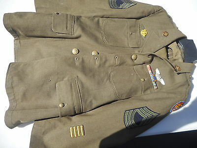 WW2 USAAF Enlisted Mans Tunic Air Crew Wing Master SGT Named With Pants