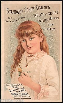 Vintage trade card STANDARD SCREW FASTENED BOOTS and SHOES with girl pictured