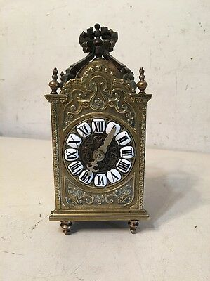 Rare Antique Gothic Brass Carriage Lantern Style Clock German French English?