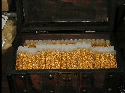 50 Gold Flakes in glass vial, Treasure bottle wedding favor great resell gift