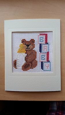 Completed Cross Stitch Card BIRTH CONGRATULATIONS NEW BABY Teddy and Bricks PB