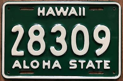 1961 Green Hawaii Aloha State Authentic Motorcycle License Plate Mint #28309