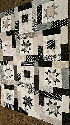 HANDMADE LUCKY STAR  QUILT TOP SHADES OF BLACKS &GREYS     (unfinished)