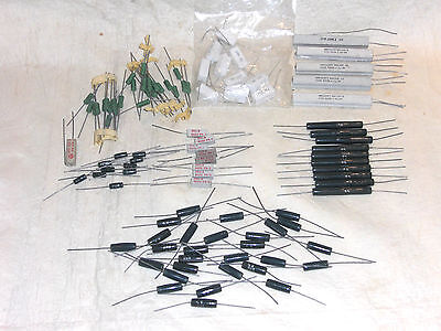 "JOBLOT, 0.31Kg, MOSTLY UNUSED, VINTAGE ""WIRE WOUND""?? RESISTORS, VARIOUS VALUES"