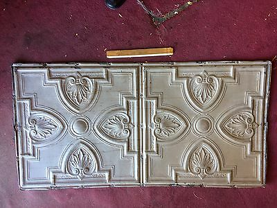 4 ANTIQUE TIN CEILING TILE 2x4 FEET 24x48 INCHE ART DECO METAL DOUBLE ORNATE
