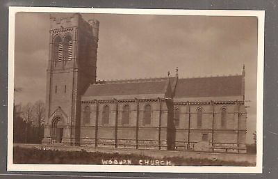 Bedford postcard, Woburn church postcard, old, real photo postcard