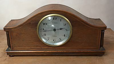 "French Inlaid Mahogany Case Platform Movement Timepiece Mantle Clock GWO 11""H"
