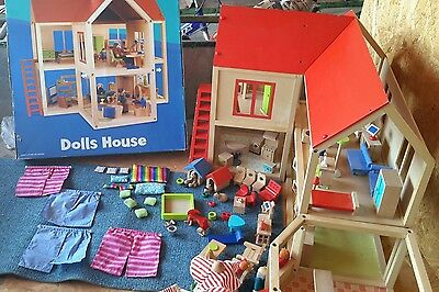 ELC Wooden dolls house with furniture and extension