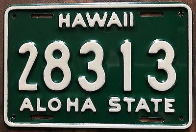 1961 Green Hawaii Aloha State Authentic Motorcycle License Plate Mint #28313