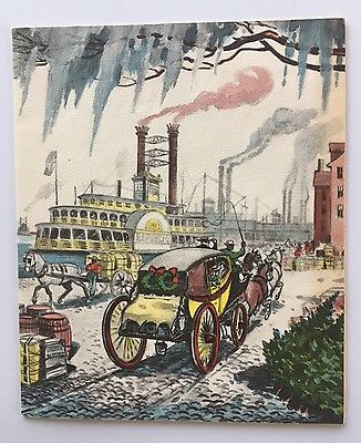 Vintage Christmas Card People Stagecoach Horse Steamboat Town Mississippi Warf