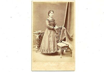Vintage CDV Photo Lady In Dress With Ruffles Galt Ontario Antique Photograph