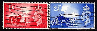 Channel Islands KGVI Stamps. 1948 Liberation Set. SG C1-C2. Used. #4010