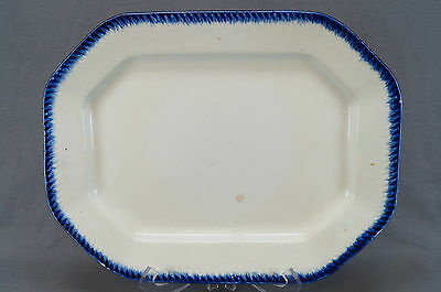 """Blue Shell / Feather Edge Staffordshire Pearlware 15"""" Platter Circa 1835"""
