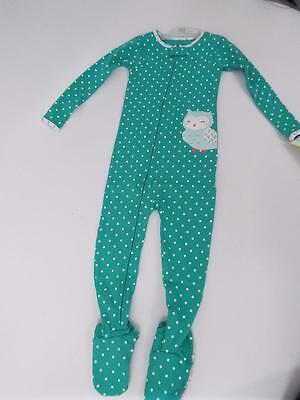 Carter's Girls 1Pc Owl Lt Green Dots Footed Cotton Sleeper Pajamas 3T