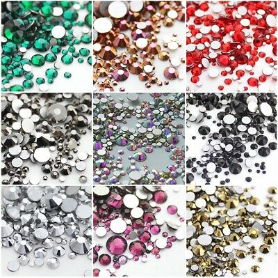 720pcs Mix Size 1.3mm - 6.5mm Crystal Glass Round Nail art Rhinestones Flatback