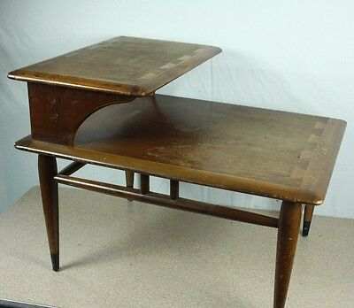 Vintage MCM Lane Acclaim Step Down End Table Mid Century Dove Tailed Tier Danish