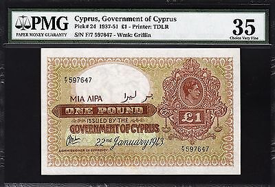 Cyprus 1 Pound 1943  Pmg 35 Choice Very Fine P.24 Rare