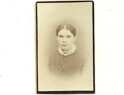 Antique CDV Photo Lady With Wavy Hair Waterloo Ontario Vintage Photograph