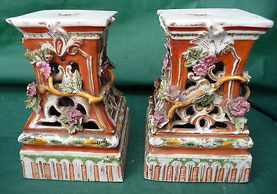 2 Rare Antique Hand Painted Pottery Cake Stands Pillars Display Chinese