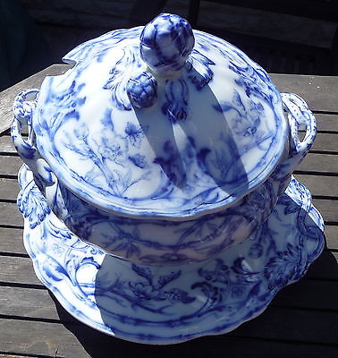 Large Antique Flow Blue & White Soup Tureen Lid & Stand Rare Bamboo 1870 E