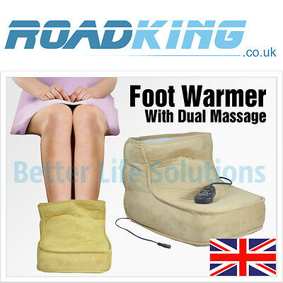 Electric Foot Massager & Warmer | Fleece-Lined Massage Boot with Heat Control