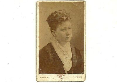 Vintage CDV Photo Lady In Velvet Toronto Ontario Old Carte De Visite Photograph