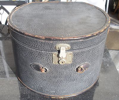 Antique Corbin Leather Train Carry-on Luggage Round Hat Box Steamer Trunk