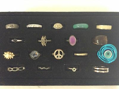 Huge Lot of 18 Vintage To Modern Costume Jewelry Rings Various Sizes & Styles X5