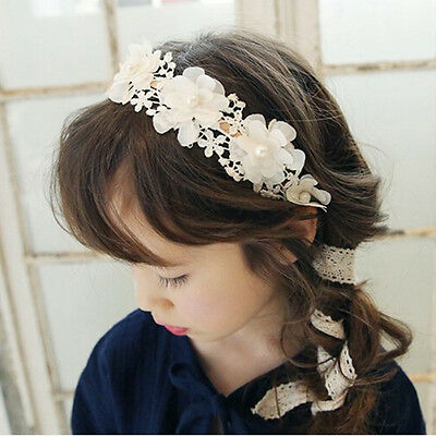 Cute Girl Headband Long Lace Ribbon Flower Hairband Kids Hair Accessories TO