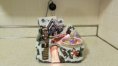 Christmas Village Fiber Optic Musical Scene With Fountain And Decoration.