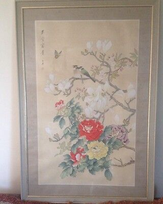 Chinese Signed Painting Vibrant Colours , Under Glass And In Fine Condition.