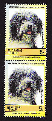 Tuvalu MNH Pair of Stamps Bearded Collie Herding Breed of Dog Dogs Chien Hund