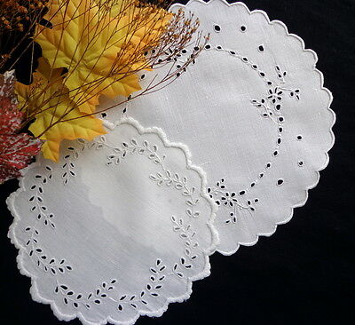 2 Antique White Linen Doilies Handmade Hand-Embroidered Scottish Eyelet Lace
