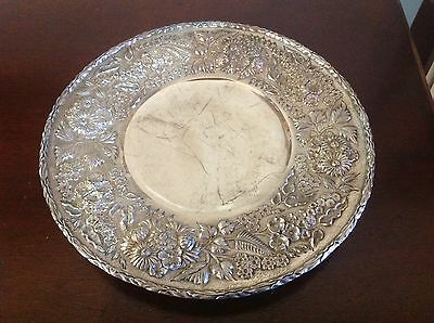 Repousse Sterling Footed Cake Plate