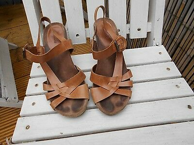 Clarks tan leather wedge sandals  - size 5.5