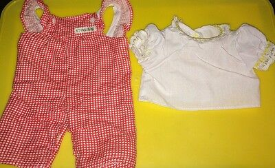 Vintage Cabbage Patch Kids Doll Red Checked Overalls / White Blouse Outfit